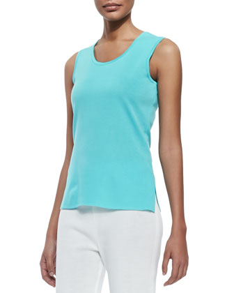 Scoop-Neck Knit Tank, Robin, Petite
