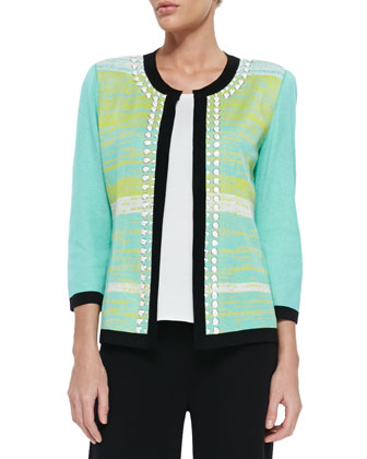 Beaded 3/4-Sleeve Jacket W/ Tipping