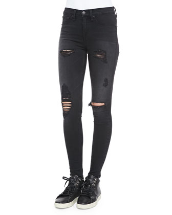 High-Rise Distressed Legging Jeans, Black