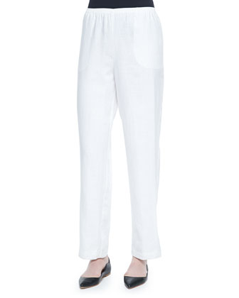 Straight-Leg Lined Linen Pants, White, Women's