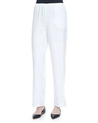 Straight-Leg Lined Linen Pants, White