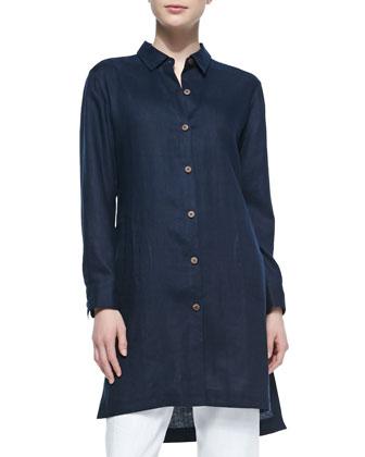 Long-Sleeve Linen Duster Coat, Midnight, Women's