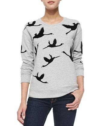 Flamingo-Print Long-Sleeve Sweatshirt