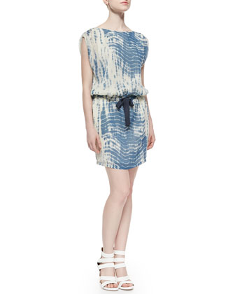 Tie-Dye Drawstring Cotton Dress