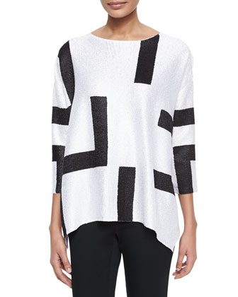 3/4-Sleeve Abstract Pullover Tunic, Petite