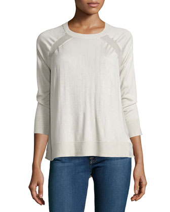 Chiffon-Panel Raglan Sweater, Flint