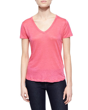 Short-Sleeve V-Neck Jersey Top