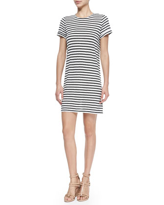 Striped Slub Cuff-Sleeve Dress
