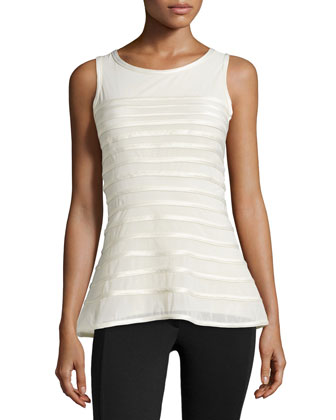 Charmeuse Striped Tank, Bone