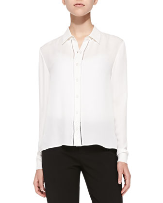 Perforated Long-Sleeve Silk Blouse & Twill Bermuda Shorts