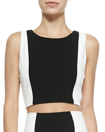 Two-Tone Sleeveless Crop Top