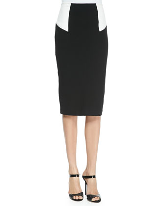 Two-Tone Sleeveless Crop Top & High-Waist Colorblock Pencil Skirt