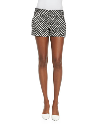 Terry Boat-Neck Knit Top & Cady Printed Structured Shorts