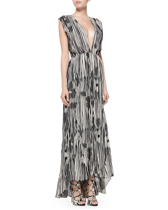 Lexa Printed Plunge-Neck Maxi Dress