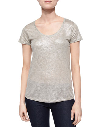 Short-Sleeve Metallic Linen Top