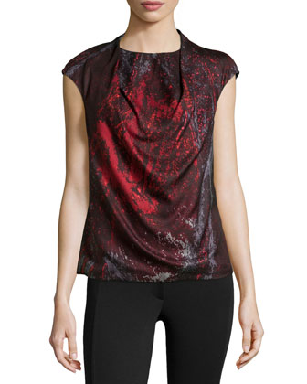 Cap-Sleeve Printed Silk Top