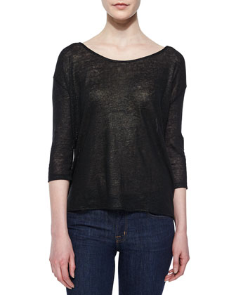 3/4-Sleeve Chain-Back Top