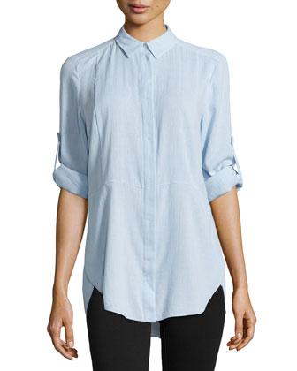 Long-Sleeve Shirttail Hem Shirt, Chambray