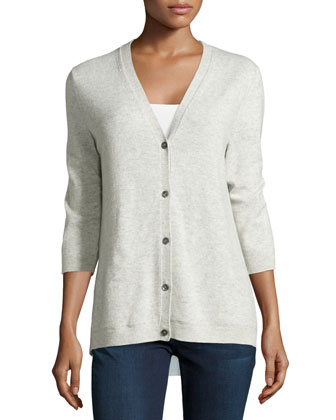 Cashmere Cardigan with Shirting Back
