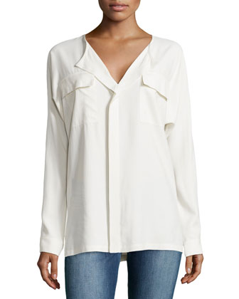 Long-Sleeve Draped-Front Shirt