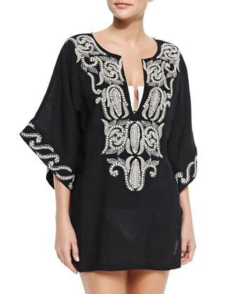 Delos Short Embroidered Linen Coverup