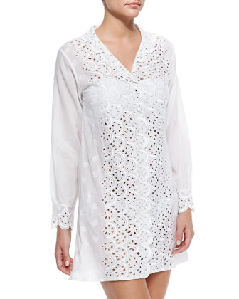 La Playa Eyelet/Voile Short Coverup
