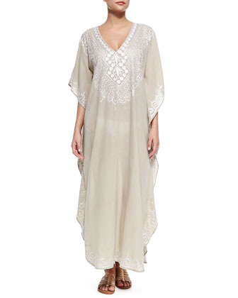Mossell Embroidered Voile Long Coverup
