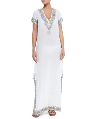 Paulo Beaded-Trim Long Linen Coverup