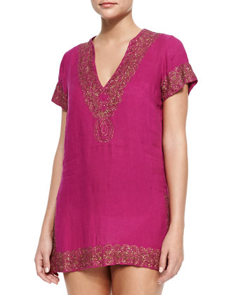 Paulo Beaded-Trim Linen Short Tunic Coverup