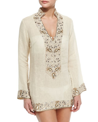 Viceroy Beaded Linen Short Coverup