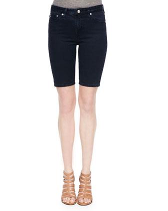 Camille Denim Biker Shorts, Blue