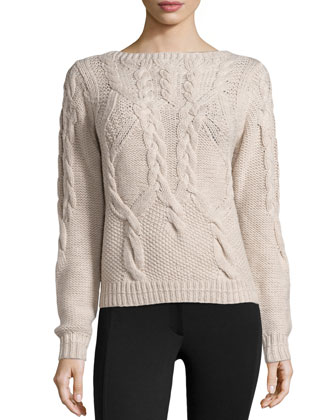 Long-Sleeve Cable-Knit Wool Sweater, Bone