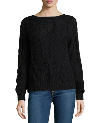 Long-Sleeve Cable-Knit Wool Sweater, Black