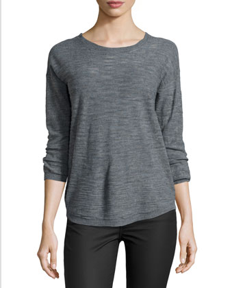 Half-Sleeve Slub Sweater, Heather Gray