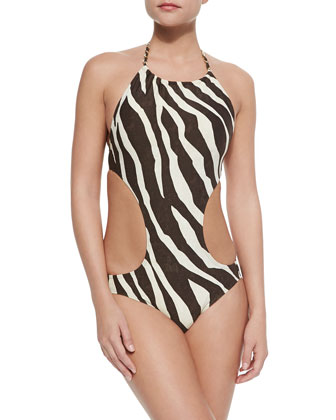 Ghanzi Zebra-Print Cutout One-Piece