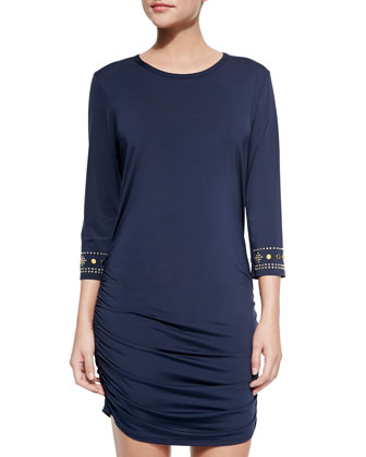 Stud-Sleeve Ruched Coverup Dress
