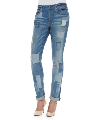 Audrey Mid-Rise Patchwork Jeans