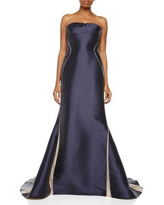 Strapless Bustier Gown, Marine