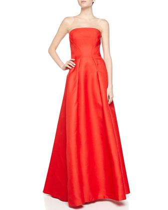 Strapless Gazaar Bustier Gown, Siren Red