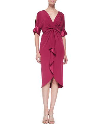 Cold-Shoulder Cocktail Dress W/ Front Ruffle