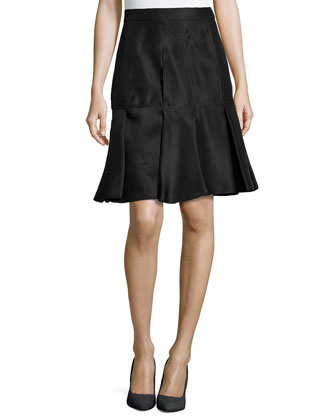 Scuba Silk Skirt W/ Pleated Hem, Noir