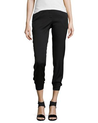 Slim Ankle Twill Pants, Black