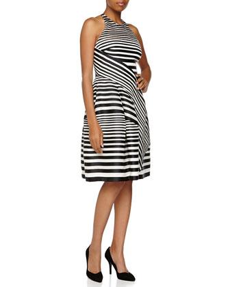 Linear-Panel Halter Dress