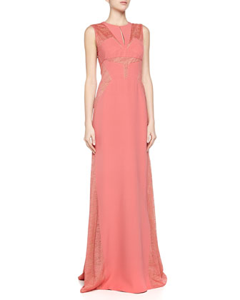 Lace-Top 3-Ply Crepe Gown