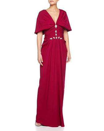 V-Neck Cowl-Sleeve Gown, Fuchsia