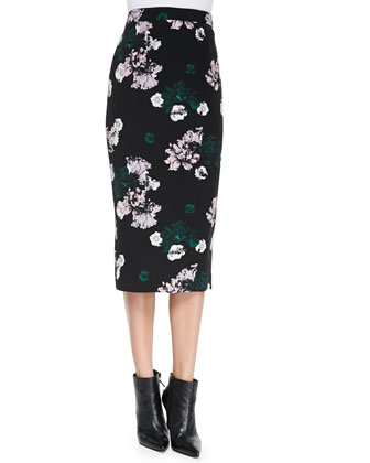 Schooly Long-Sleeve Floral Crop Top & Midi Floral Pencil Skirt