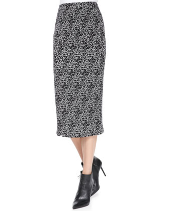 Crackle-Print Midi Skirt