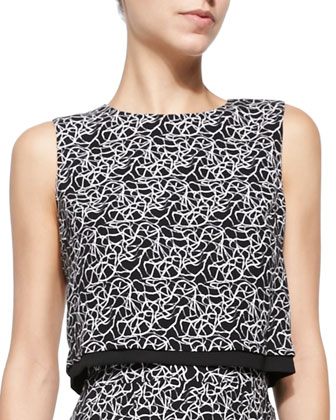 Devoe Sleeveless Crackle-Print Top