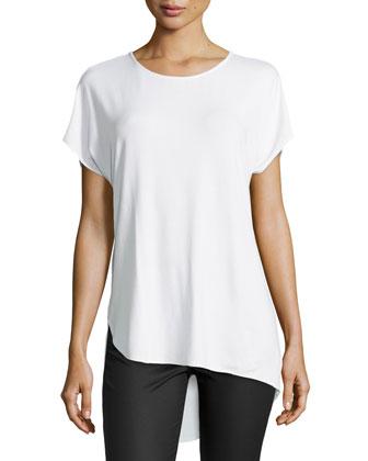 Short-Sleeve Asymmetric-Hem Tee, White