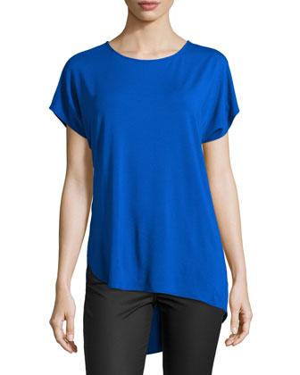 Short-Sleeve Asymmetric-Hem Tee, Cobalt